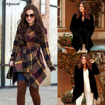 New Women Large lapel woolen coat A-Line Irregular woolen coat with Sashes and pocket Solid Color Plaid Fall and Winter D25 cut and sew panel pocket decoration coat
