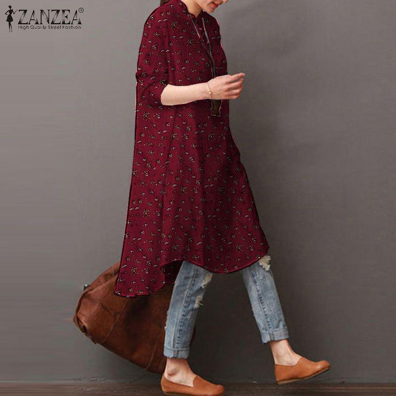 Kaftan çiçek üstleri kadın sonbahar bluz ZANZEA 2020 Casual asimetrik tunik kadın düğme aşağı Blusas boy tunik 5XL