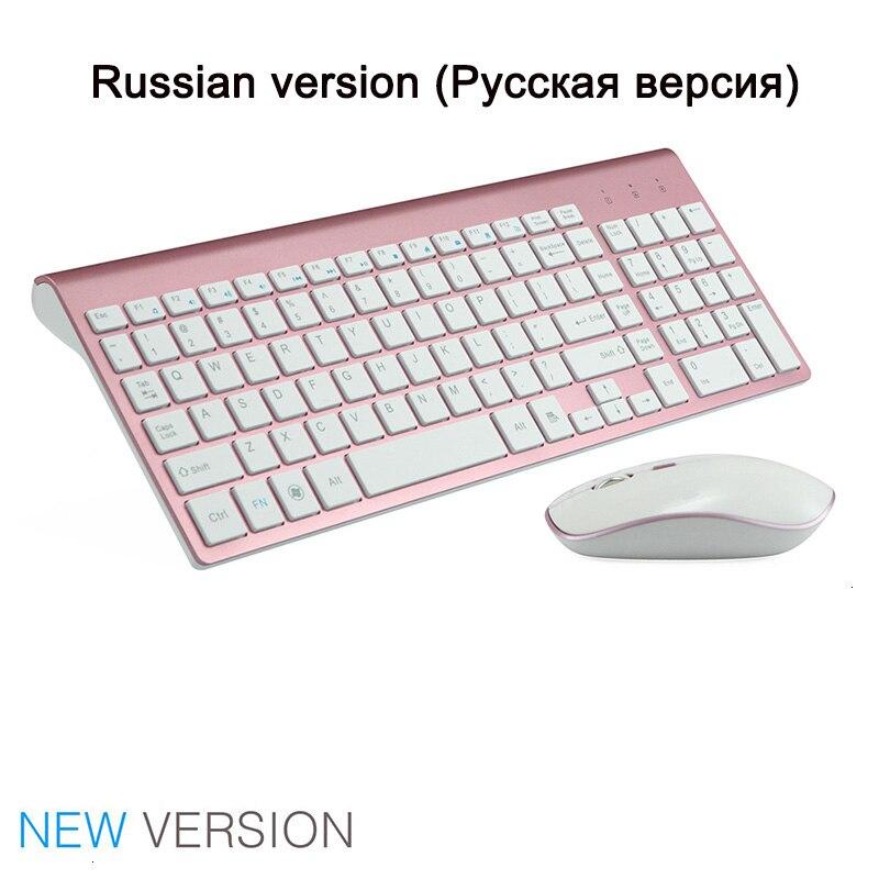 SeenDa 2,4G Беспроводная Бесшумная клавиатура и мышь, мини мультимедийная полноразмерная клавиатура, мышь, комбинированный набор для ноутбука, ноутбука, настольного ПК - Цвет: Pink Russia version