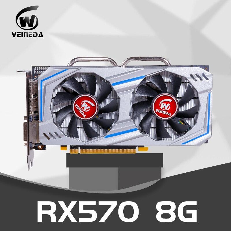 Carte graphique Veineda Radeon RX 570 256-bit 8 go GDRR5 PCI Express 3.0x16 DP HDMI DVI prêt pour carte vidéo AMD rx 570