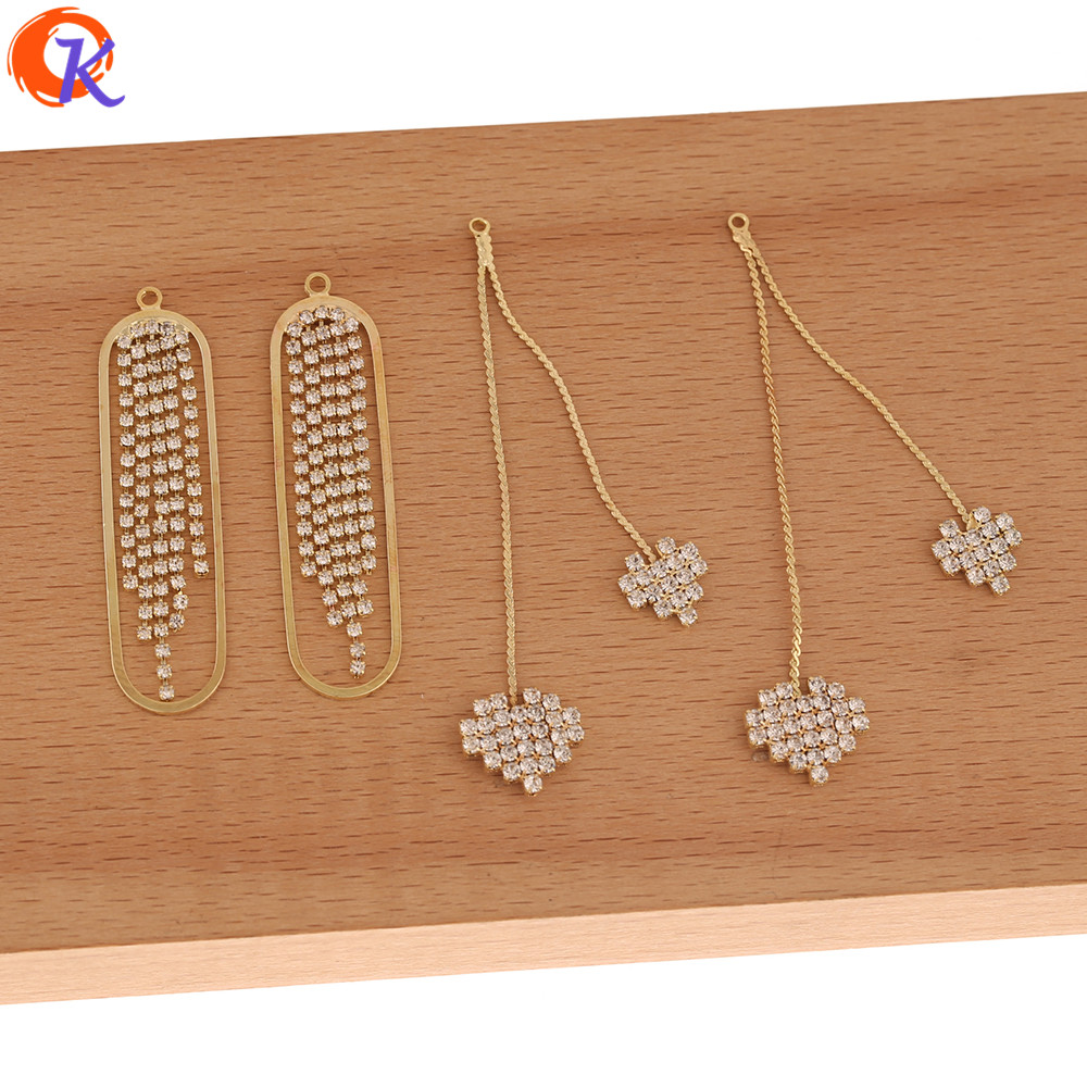 Cordial Design 40Pcs Jewelry Accessories/Earrings Connectors/Geometry Shape/Rhinestone Claw Chain/Hand Made/DIY Jewelry Making