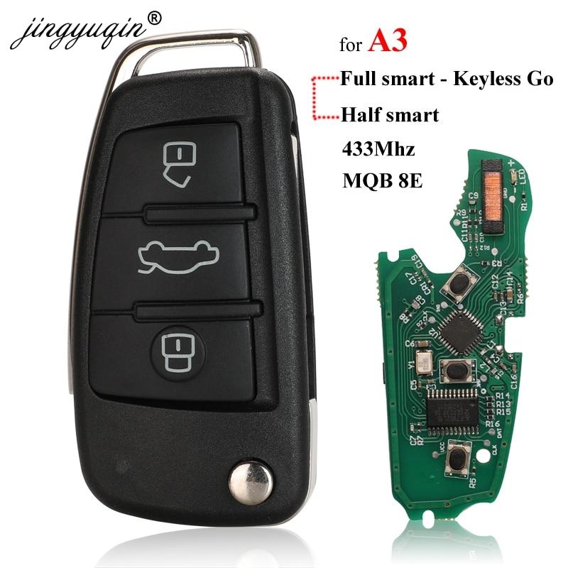 Jingyuqin для Audi A3 S3 MQB KeylessGo/полуумный дистанционный ключ 3 кнопки Складной флип автомобильный смарт ключ-брелок 433 МГц