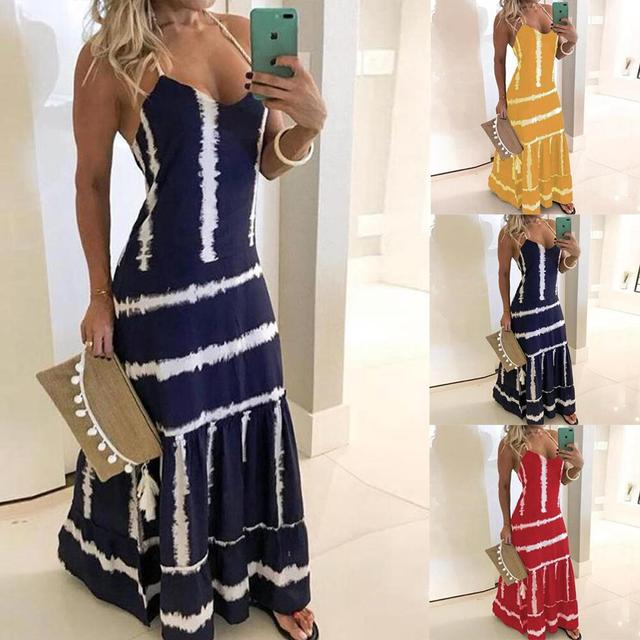 2020 Women Casual Loose Strap Dress Colors Summer Sexy Boho Bow Camis Befree Maxi Dress Plus Sizes Big Large Dresses Robe Femme 6