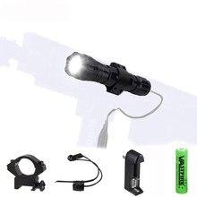 Taktik 5000Lm T6 LED askeri el feneri avcılık meşale güç 18650 şarj edilebilir pil + uzaktan kumandalı anahtar + şarj + avcılık dağı