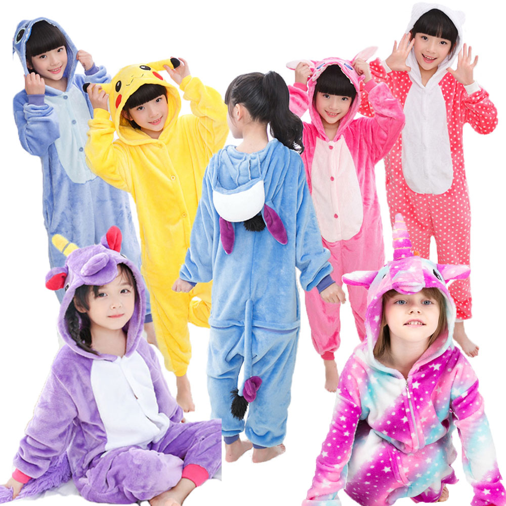 Cartoon Boys Stitch Blanket Sleeper Animal Rainbow Unicorn Pajamas Kids Kigurumi Costume Pyjamas Children Unicorn Pijamas Girls