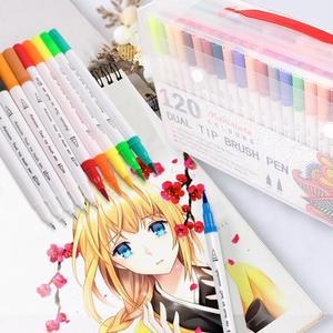 Image 3 - Dual Tip Art Markers 60/100/120 Colors Calligraphy Watercolour Paint Brush Pen Set for Adult Colouring Books