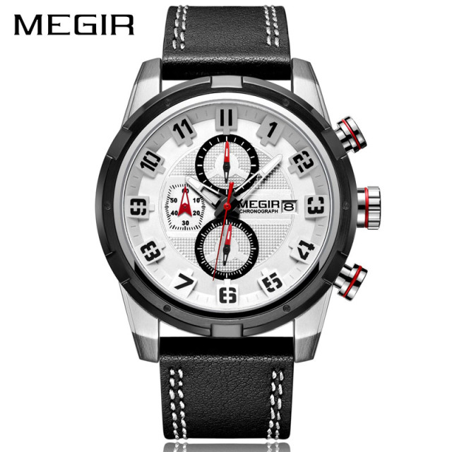 MEGIR Chronograph Sport Quartz Watch Men Clock Creative Blue case Leather Men Wrist Watches Army Military Wristwatches Relogios | Fotoflaco.net