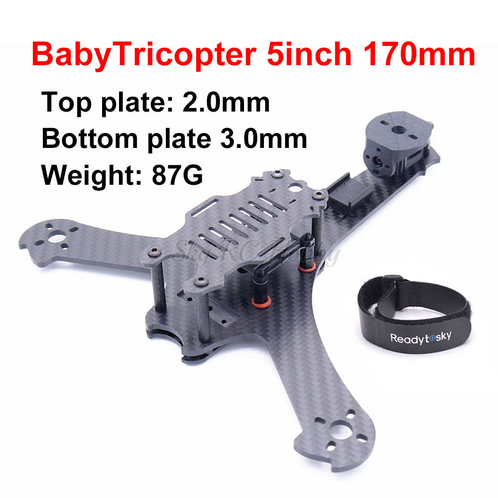 BabyTricopter 3 axis 5inch 170 170mm Carbon Fiber Y type Frame Kit met 3mm bodemplaat Voor RC FPV Racing Drone