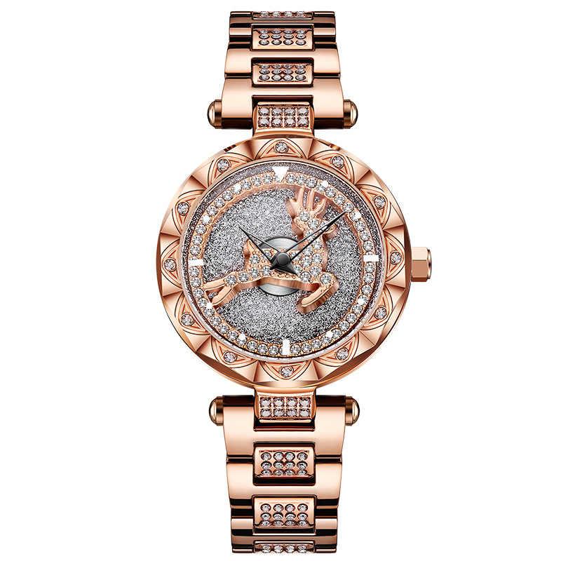 Veados VOHE AO Girar Mulheres Relógios Rosa de Ouro de Diamantes de Luxo Senhoras Relógio de Aço À Prova D' Água quartz feminino relógio de pulso relogio feminino