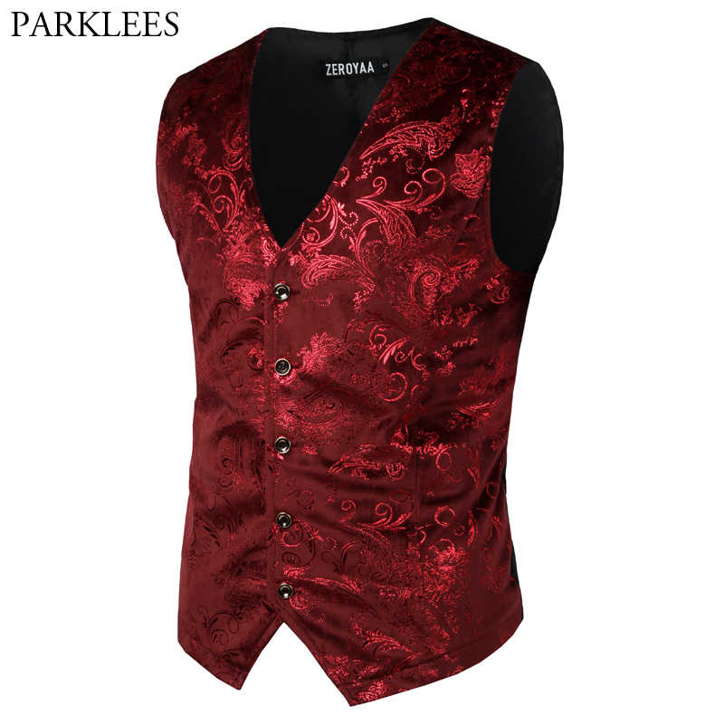 Mens Red Paisley Bronzing Vest Single Breasted V-Neck Wedding Suit Vests Men Gothic Aristocrat Steampunk Victorian Gilet Homme
