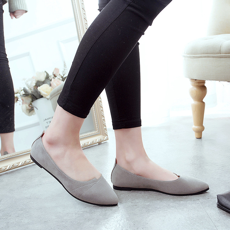 2017 Spring New Style Europe And America Pointed-Toe Flat Keel Thin Shoes Dull Polish Shallow Mouth Flat Shoes Casual WOMEN'S Sh