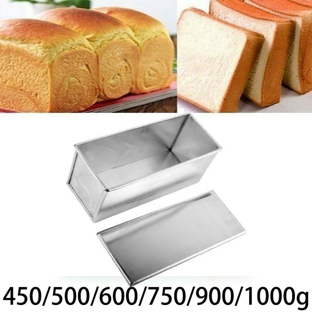 Non-Stick Bread Loaf Meatloaf Pan With Lid Metal Mold Toast Kitchen Bakeware