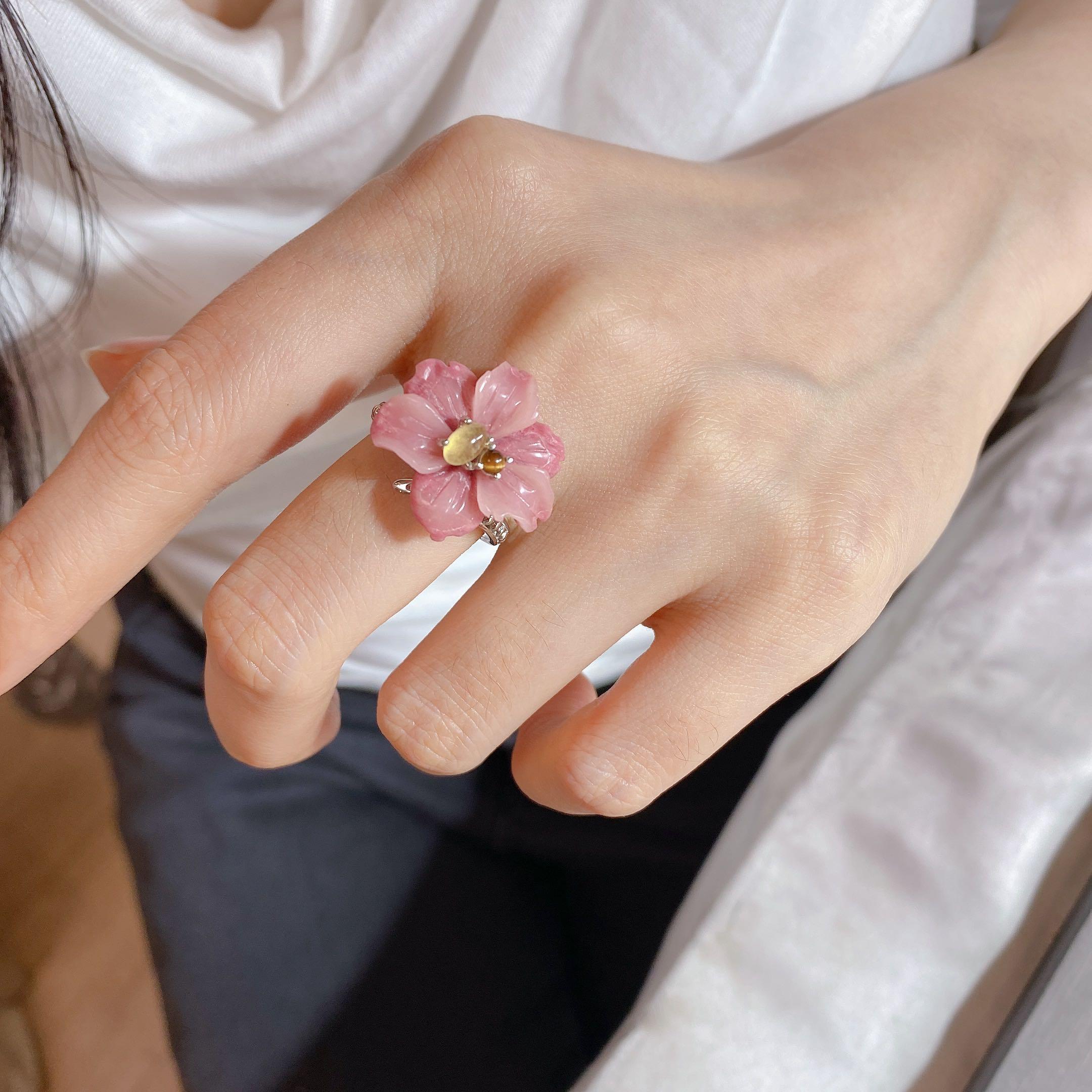 Кольцо MIQIAO из натурального камня женское, регулируемое ювелирное изделие из стерлингового серебра 925 пробы с большим цветком и флюоритом тигра, аксессуары для женщин|Кольца| | АлиЭкспресс