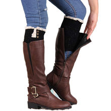 Winter Thick Warm Knitted Leg Warmers Socks Boot Cover Stripe For Women Lace Stretch Boot Leg Cuffs Boot Socks 1 Pair new #914(China)