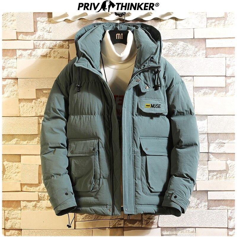 Privathinker Men's Hooded Casual Safari Style Parkas Coat Men Thicken Warm Korean Winter Outwear Clothes Male 4XL Winderbreak