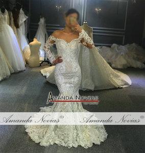 Image 2 - Off the shoulder long lace sleeves mermaid wedding dress 2020 custom order bridal dress