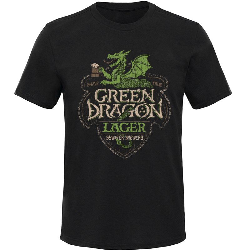 Beer Time T Shirt Men Green Dragon Lager Mens T-Shirt Retro Coupons Summer/Autumn Short Sleeve 100% Cotton Tops Casual TShirt