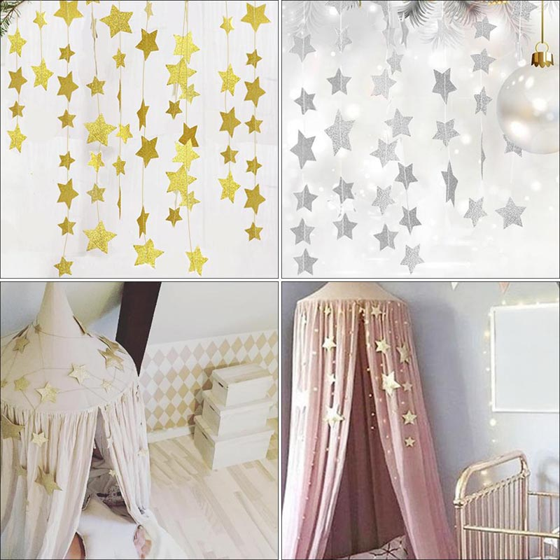 2.5M Baby Bed Mosquito Net Hanging Decoration Gold Silver Sparkling Stars Baby Room Decor Baby Crib Children's Rooms Walls Decor