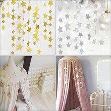2,5 M cama de bebé mosquitero decoración colgante oro plata estrellas brillantes decoración de la habitación del bebé cuna de los niños decoración de las paredes