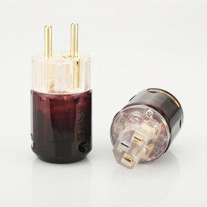 Image 1 - משלוח חינם זוג אחד 24k זהב מצופה P 079E Schuko האיחוד האירופי Plug + C 079 IEC נקבה מחבר עבור אודיו DIY