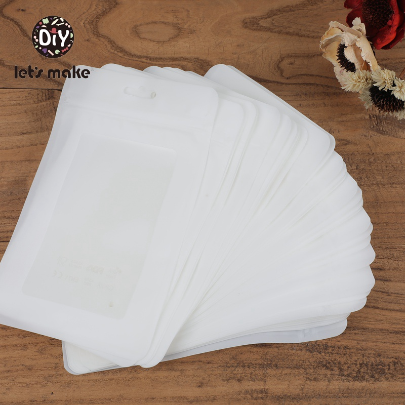 Let's Make 20pcs 19.5x11.5cm Plastic White Bags Product Packaging Bag Ecofriendly Baby Silicone Bead Package Jewelry Pendant Bag