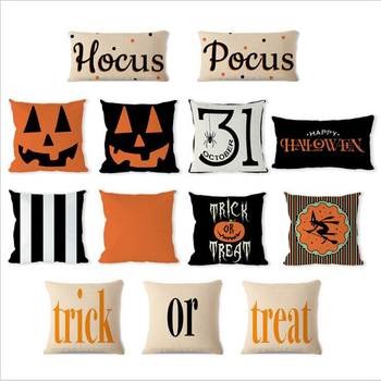 Halloween Ghost Witch Pumpkin Pillowcases Seat Sofa Pillow Cover Linen Cotton Square Green Cushion for Home Decoration