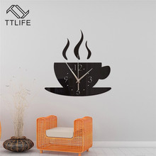 TTLIFE Coffee Cup Wall Clock 3D Stereo Sticker Acrylic Removable Multicolor Mirror Stickers Home Decor Decal 25x10cm