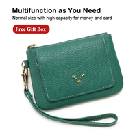 X.D.BOLO Genuine Leather Women Wallets Soft Pattern Small Wallet Flap Card Holder Cowhide Women Purse with Zipper Short Purse