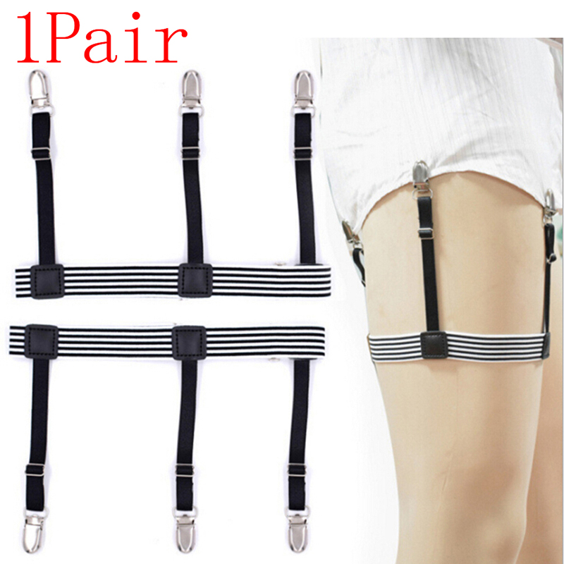 2 Pcs/pair  Non-slip Men Shirt Stays Belt With  Locking Clips Keep Shirt Tucked Leg Thigh Suspender Garters Strap