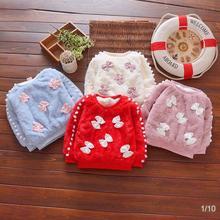 BibiCola/зимние свитера для маленьких девочек; осенний милый бархатный свитер для маленьких девочек; Детские теплые свитера; одежда для маленьких девочек