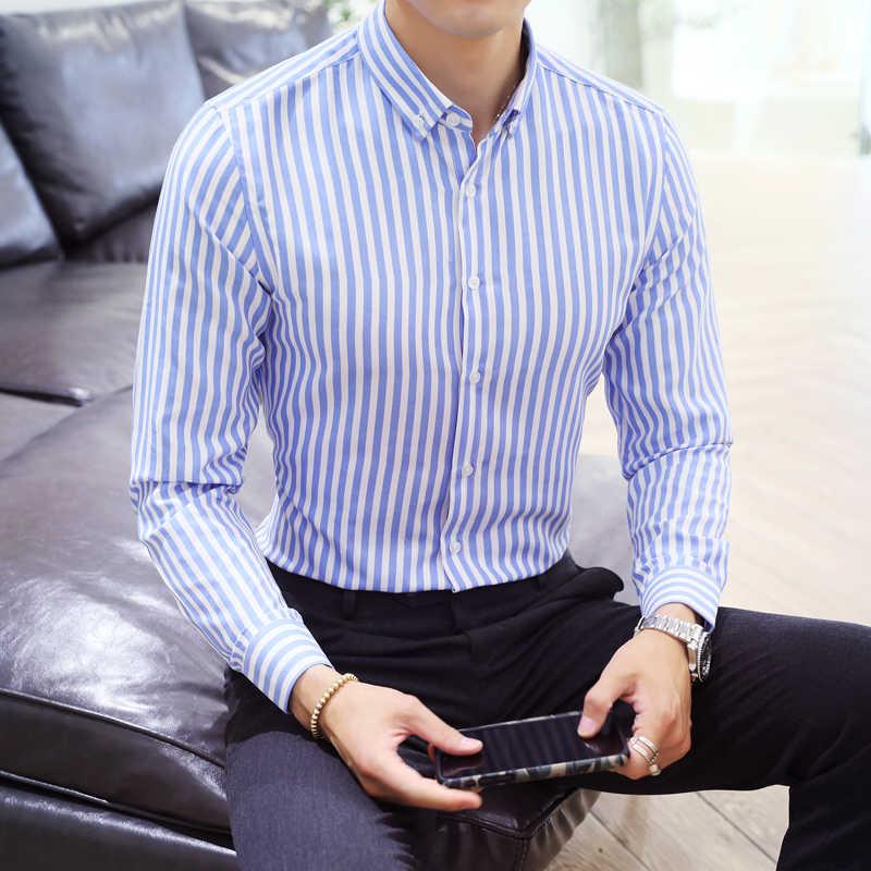 남성 셔츠 스트라이프 셔츠 긴팔 남성 캐주얼 셔츠 봄 가을 캐주얼 남성 탑 플러스 사이즈 2020 봄 남성 의류 탑