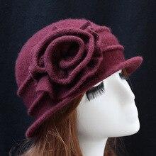 Осень Зима шерстяная шапка элегантные женские шляпы для девочек Модные Винтажные женская панама однотонные цветочные украшения