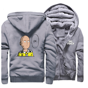 Image 5 - Sudadera con capucha de One Punch para hombre, ropa de calle Saitama, sudadera de Anime japonés, abrigos de invierno con cremallera, chaqueta cálida de lana informal para hombre 2019