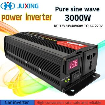 JUXING 3000W Pure Sine Wave Power Inverter Converter Bulit-in Transformer DC12V / 24V / 48V / 60V to AC220V with  AC outlet modified sine wave ups power inverter 1500w dc12v input to ac220v output with battery charging function