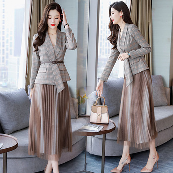 office lady Net Skirt Suits skirt with suit women Plaid blazer skirt set Women suit lady Work skirt and suits jacket 2 piece skirt suit for women jacket female korean version 2019 spring and autumn office lady uniform blazer chiffon skirt 9856