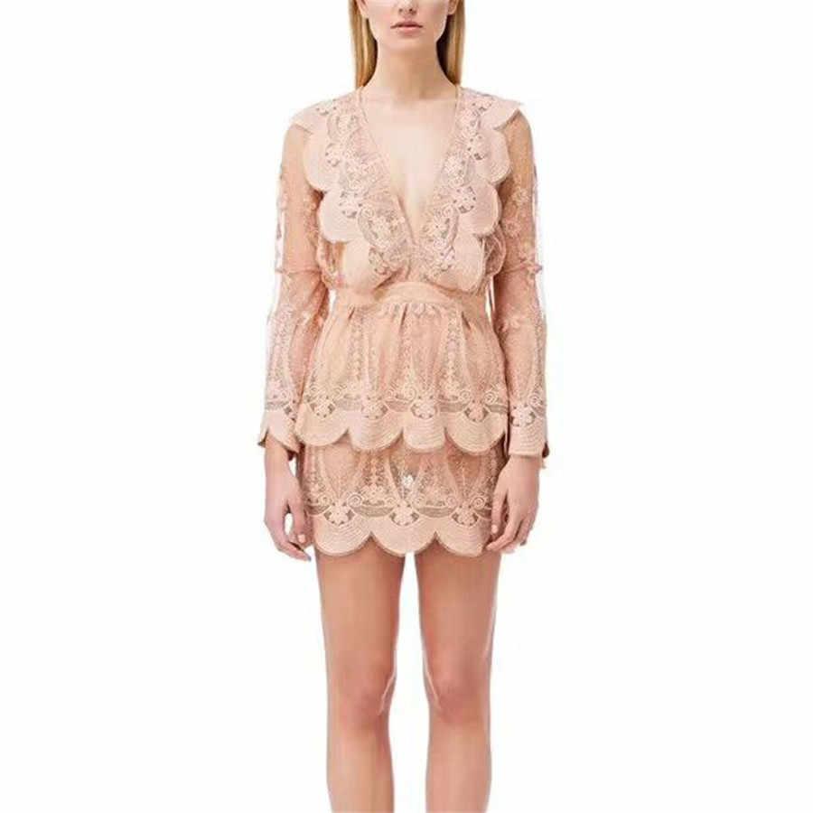 Новинка 2019, подиумное дизайнерское модное сексуальное мини-платье с глубоким v-образным вырезом, розовое роскошное Брендовое осенне-осеннее кружевное плиссированное платье белого цвета
