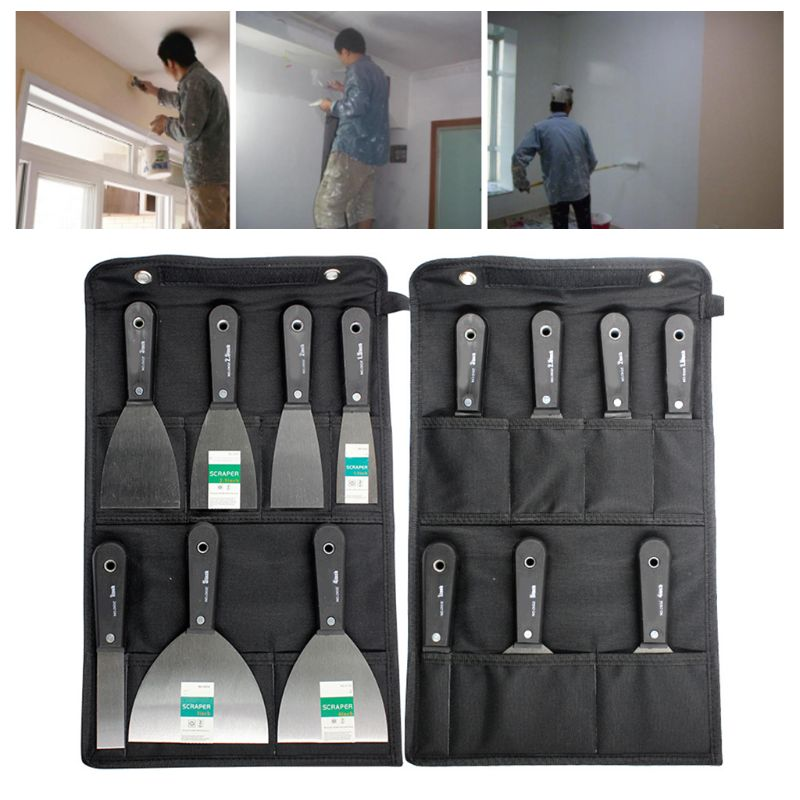 7 Pcs Portable Drywall Scrapers Blade Putty Knife Wall Shovel Carbon Steel Anti-Slip Plastic Handle House Refurbishing