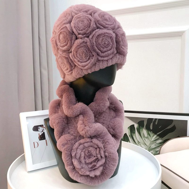 Women Knit Real Rex Rabbit Fur Hat Scarf Sets Natural Warm Rex Rabbit Fur Scarves Hat Winter Lady Real Rex Rabbit Fur Hat Scarf