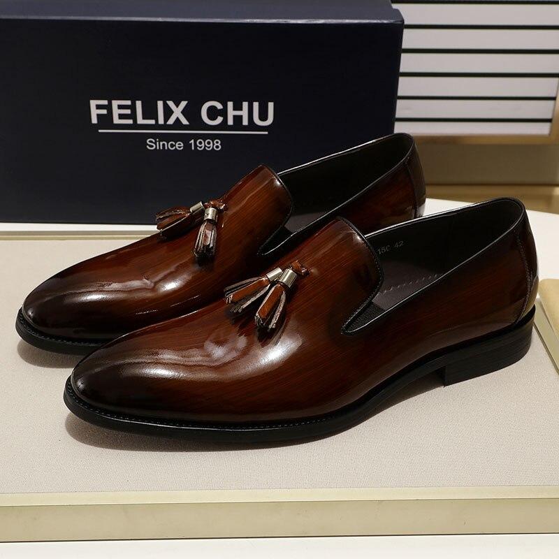 FELIX CHU Patent Leather Men Tassel Loafer Shoes Black Brown Slip On Mens Dress Shoes Wedding Party Formal Shoes Size 39-46