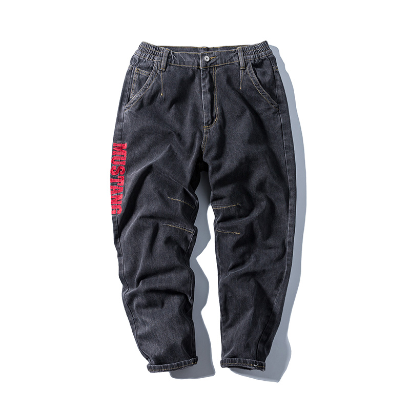 2020 Straight-barrel Workwear Ins Tide Brand Embroidered Jeans Men's Tide Big Size Loose Trend Pants Autumn And Winter