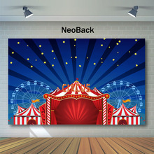Neoback Circus Birthday Backdrop Red White Striped Tent Photography Backdrops Ferris Wheel Party Decor Photo Background