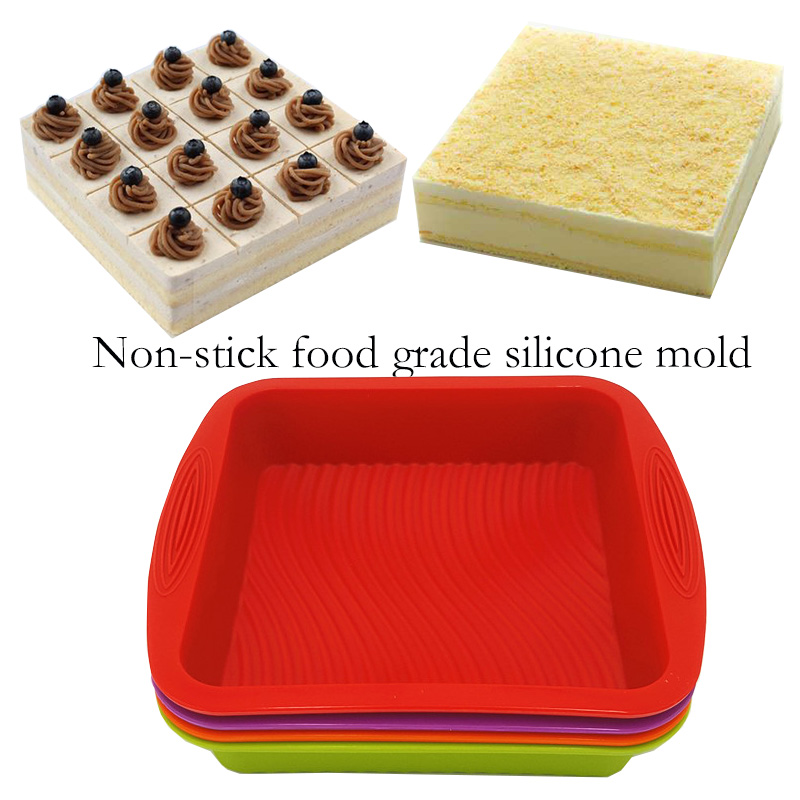 Cupcake Chocolate Baking Tray Square Shape Silicone Bakeware Cake Mold Toast Bread Pastry Soap Mold Baking Tool 26.5*24.5*5CM
