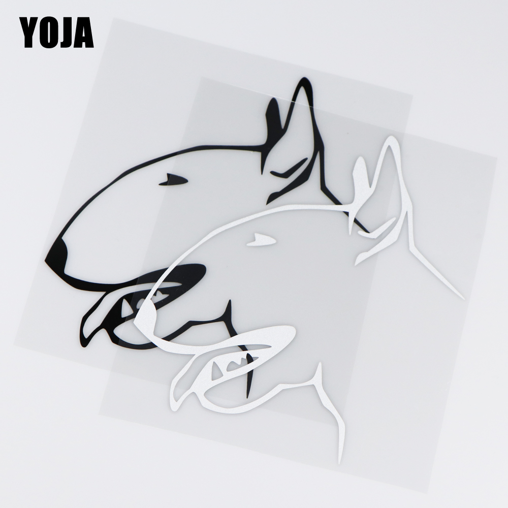 YOJA 15X17.6CM I Love My Bull Terrier Car Sticker Vinyl Decal Lovely Cartoon Animal  ZT2-0025