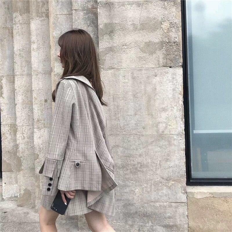 Women Jacket Coat And Straps Mini Dress Plaid Suits Retro Slim Office Blazer Lady Ol Work Two Piece Set
