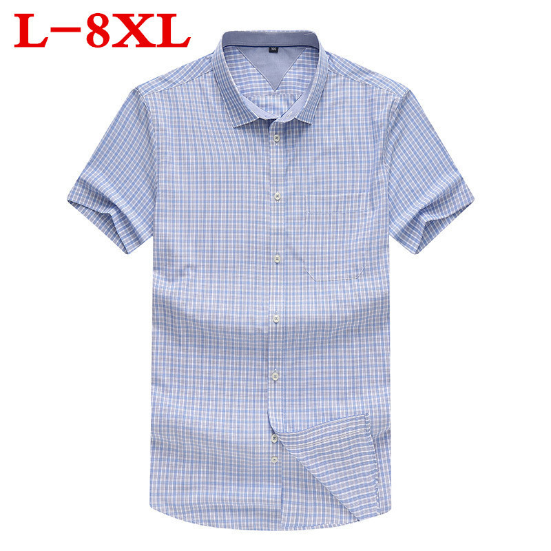 Large Size 8XL 7XL 6XL 100% Cotton Mens Dress Short Sleeve Shirts Casual Loose Fit Plaid Men Shirts Brand Clothing Chemise Homme