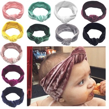 цена на Baby Kids Girls Rabbit Bow Ear Hairband Headband Turban Knot Head Wraps Cotton Blends Unisex Black Pink Red Hot pink Green