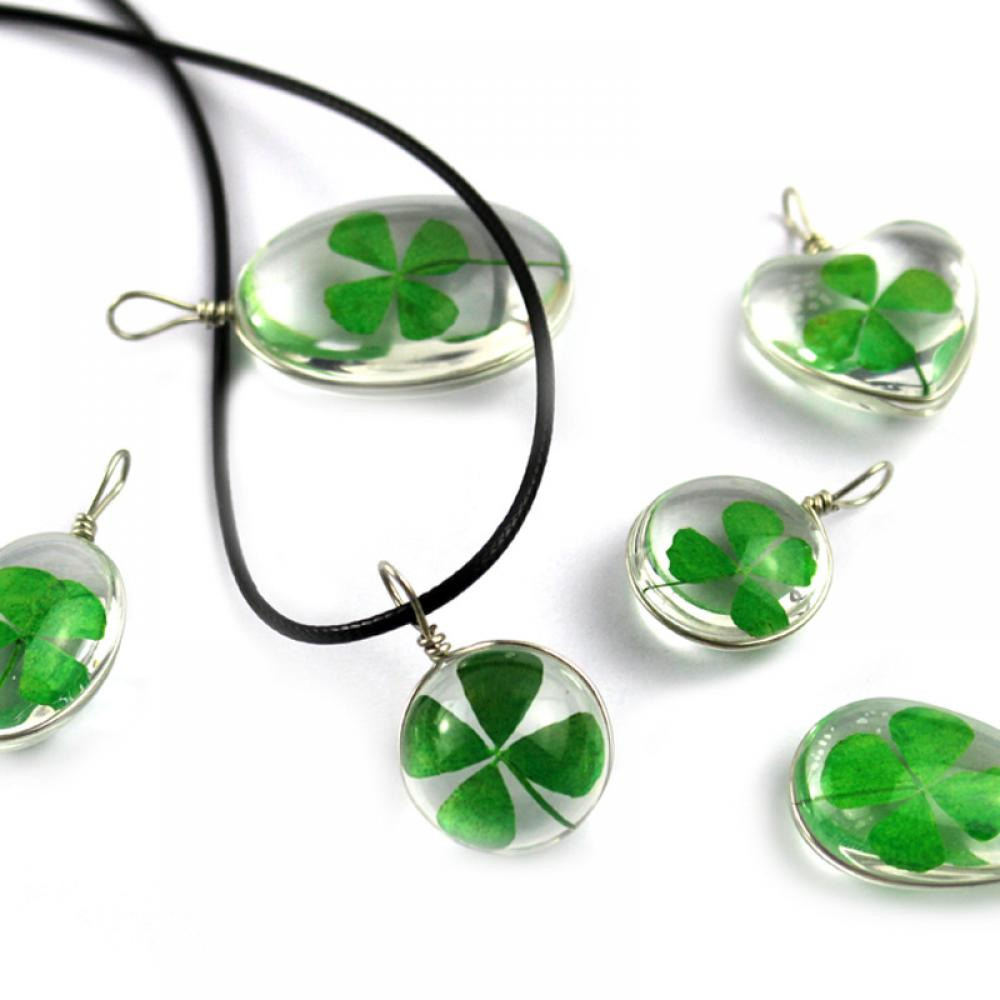 2020 Transparent Glass Various Shapes Pendant Necklace Unisex Luck Gift Classic Handmade Dried Flower Clover Jewelry Accessories