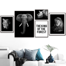 Black And White Lion Elephant Tiger Quote Wall Art Canvas Painting Nordic Posters Prints Pictures For Living Room Decor