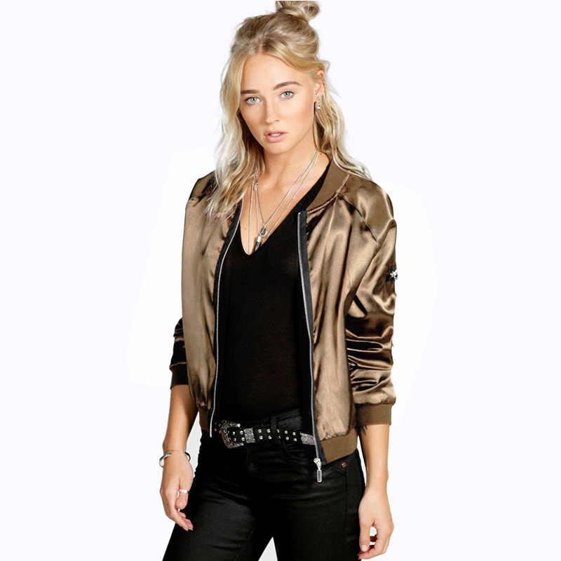 2017 Демисезонный Для женщин тонкие куртки топы Курточка Бомбер с длинным рукавом на молнии облегающее пальто в повседневном стиле Fit Верхняя одежда JS24