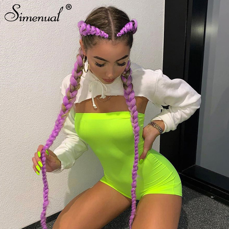Simenual Casual Skinny Biker Playsuit Women Wrap Chest Sleeveless Fashion Romper Workout Active Wear Summer Neon Color Playsuits